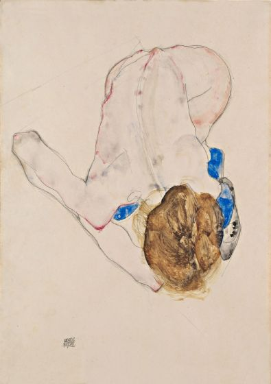 Schiele, Egon: Nude with Blue Stockings, Bending Forward. Fine Art Print/Poster. Sizes: A4/A3/A2/A1 (003698)